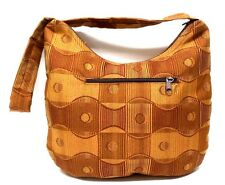 Brown and Tan Geometric Pattern Purse Shoulder Bag Handcrafted New