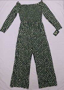 Art Class Girls' long sleeve polka dots Jumpsuit Black and white Size L(10/12)