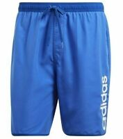 New Mens Adidas Swim Beach Swim Swimming Board Shorts Summer Holidays - Blue