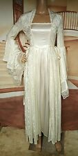 Excellent Ivory Medieval Wedding Dress LOTR Renaissance Fantasy Fairy Gown Sz Sm