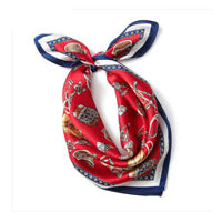 100% Silk Scarf Fashion Print Neck Hair Kerchief Tie Band for Stylish Women 53cm