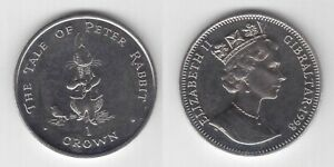 GIBRALTAR 1 CROWN BU COIN 1998 YEAR KM$656 TALE OF PETER RABBIT