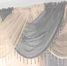 GEMMA BEADED FRINGE ROUND VOILE SWAG SWAGS x1 Drape Pelmet Curtain Valance