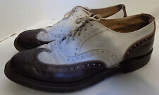 Vintage Men's Brown White Spectator Wingtip Lace Up Shoes Thom McAn 11 11 1/2