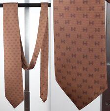 "New Hermes H logo chocolate brown silk tie 3.5"" x 60"""