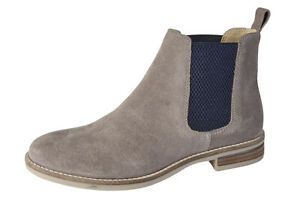 SUEDE ANKLE BOOTS TWIN GUSSET BEIGE NAVY
