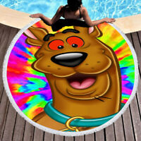 Scooby Doo Tripping Out Cool Round Towel Tapestry Yoga Beach Mat Blanket
