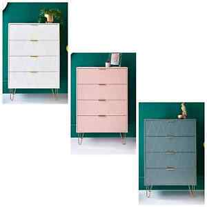 Stylish 4 chest of Drawer Bedside Cabinet Storage Bedroom With Rose Gold legs