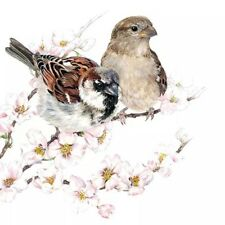 4 Lunch Paper Napkins for Decoupage Party Table Craft Vintage  Sparrows Blossom