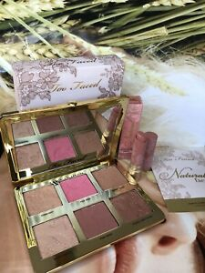 TOO FACED Natural Face BLUSH BRONZE HIGHLIGHT Palette & Nude Lipstick! NIB