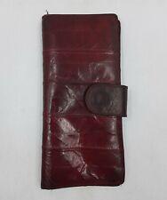 Genuine EEL Burgundy Leather Style Ladies Wallet Bi-Fold Card Holder Vintage