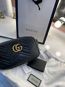 Gucci Marmont Small Shoulder Bag Black matelassé Leather Gold Hardware