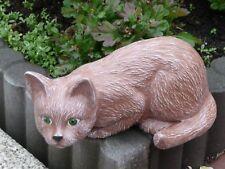 Steinfigur Tierfiguren Katze grüne Augen