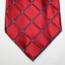 NEW Izod Silk Neck Tie Brick Red with Dark Blue Stripes & Light Blue Dots 1439