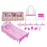 Kreative-Rosa-Bett Frisierkommode&Stuhlset für Baby Schlafzimmermöbel Puppe D6L8