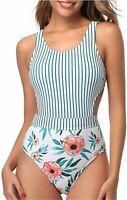Tempt Me Women One Piece Swimsuit Cutout High Neck, White Stripe, Size Small W42