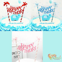 HAPPY BIRTHDAY BUNTING BANNER HAPPY BIRTHDAY BLUE PINK RED CAKE TOPPERS