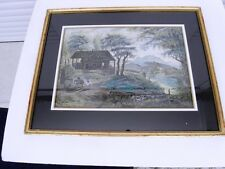 """ECOLE FRANÇAISE DU 18è """"Le troupeau vers la rivière"""" Gouache signée P.D'H. 1794"""