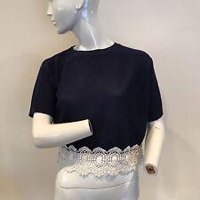 Topshop Ladies Navy Blue Beige Crochet Edge Short Sleeved Jumper UK Size 4