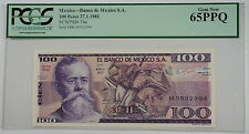27.1.1981 Banco de Mexico S.A. 100 Pesos Note SCWPM# 74a PCGS 65 PPQ Gem New