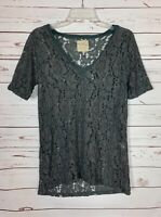 Chaser Women's S Small Dark Gray Lace Short Sleeve Spring Summer Tunic Top Tee