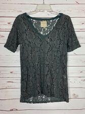 Chaser Women's S Small Dark Gray Lace Short Sleeve Cute Fall Top Tunic Shirt Tee