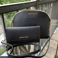 Michael Kors Women Lady Leather Black Crossbody Bag Handbag Messenger +Wallet