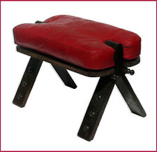 Oriental Real Leather Seat Cushion Handmade Moroccan Kamelhocker Red