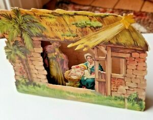 Vintage Unmarked 1920's German Multi-Layer 3D Paper Pop-Up Nativity Scene