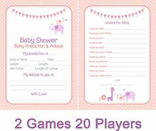 2 Games *Baby predictions & Wishes for baby* 20 PLAYERS Girl/Pink