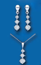 White Gold Pendant and Earrings Set Three Stone Trilogy Solid Gold Hallmarked
