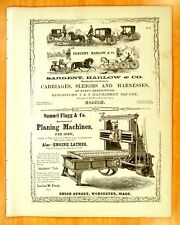 1856 Print Ads SARGENT HARLOW & Co. CARRIAGES Boston Flagg Machinery Worcester