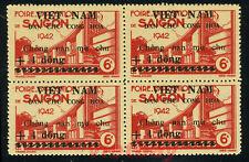 NORTH VIETNAM Block of 4 Viet Minh Overprinted on Indochina Stamps 1L51 MNH NGAI