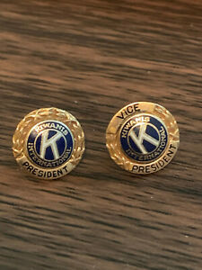 2 14K Yellow Gold Top Vice President Kiwanis International Lapel Pin w/Screwback