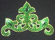 green sequin embroidery patch lace applique motif dress irish dance costume