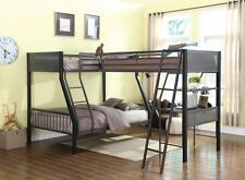 COOL BLACK GUNMETAL (2) TWIN & 1 FULL YOUTH LOFT BUNK BED BEDROOM FURNITURE SET