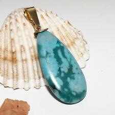 Aquamarin Anhänger Tropfen 3cm – Silber 925 vergoldet – blau 22ct marmoriert