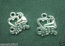 5PCS Tibetan Silver Tone CHEER Horn Heart Charms Pendants Jewelry Beads HOT