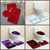 3pcs Non-Slip Bathroom Rug Bath Mat Contour Toilet Seat Lid Cover Set Home Decor