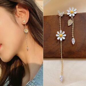 Sunflower Daisy Butterfly Leaf Earrings Stud Tassel Asymmetric Dangle Drop Women