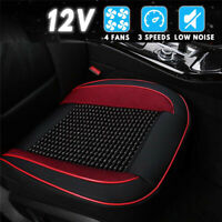 Cooling Car Seat Cushion Cover 4 Fan 3-Speeds Black & Red Wooden Beads Universal