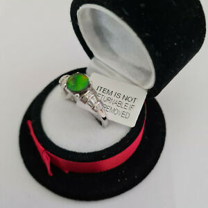 Stunning AA Canadian Ammolite & White Topaz ring Platinum over Sterling silver R