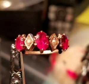 VICTORIAN 14Kt  Ruby seed Pearl Yellow Gold Vintage Ring 7.5