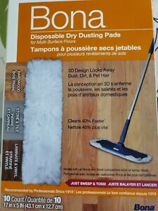 Bona 10 Count Multi-Surface Dry Disposable Dry Dusting Cloths/Pads BRAND NEW