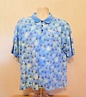 Caribbean Joe Hawaiian Polo Shirt XL Blue Palm Trees Short Sleeve Cotton Blend