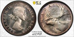 1953 No Strap Canada 25 Cent PCGS MS65 Lot#G843 Silver! Gem BU!