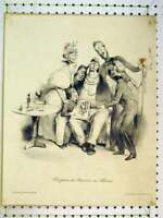 Original Old Antique Print C1875 Jolly Man Comedy French Sier 19th