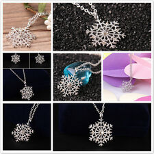 Fashion Women Silver Chain Crystal Snowflake Pendant Necklace Christmas Jewelry