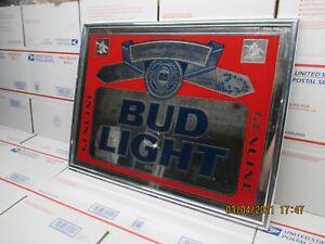 Vintage 1990 BUD LIGHT Genuine Beer Mirror Sign B3
