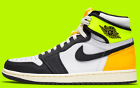 Air Jordan 1 Retro High OG White Volt Gold 555088-118 Men's Size